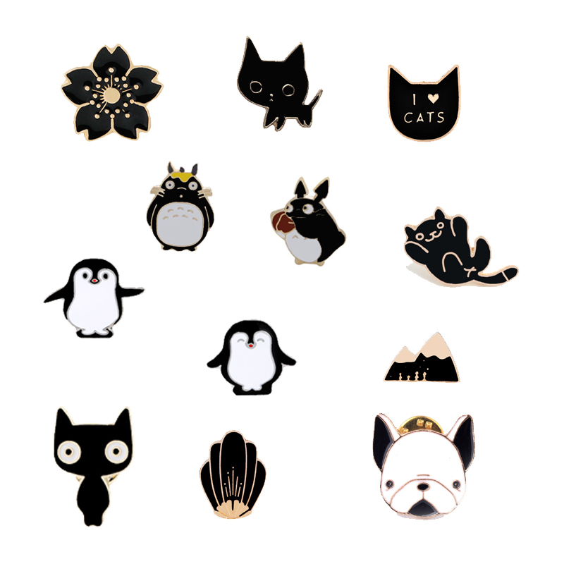 Fashion Cartoon Animal Enamel Pins Women Brooch Panda Cute Cat Flower Bears PAPA Penguin Mountain Shell Brooches Denim Badge Pin