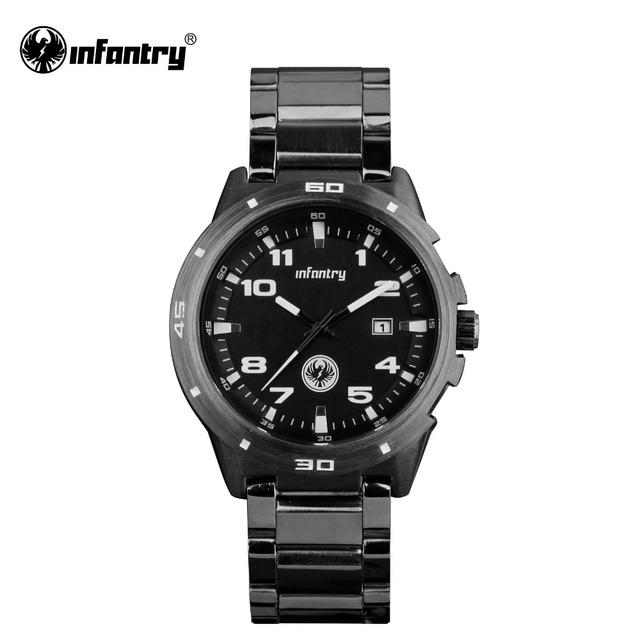 INFANTRY Watch New Black Full Steel Mens Quartz Wrist Watch Date Military 30M Water Resistant Business Watches Relogio Masculino