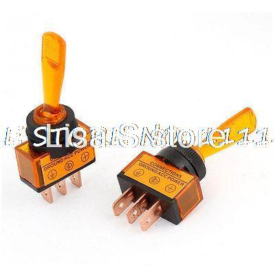 2 Pcs Car Auto Vehicle Plastic Shell SPDT 3 Pin Terminal Toggle Switch