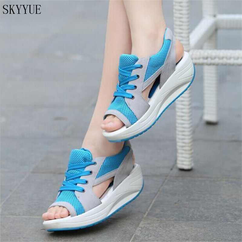 Women Sandals 2018 Fashion Summer Casual Sport Mesh Breathable Shoes Women Ladies Wedges Sandals Lace Platform Sandalias minika women sandals summer shoes breathable lace flats platform wedges lose weight creepers summer sandals cd41