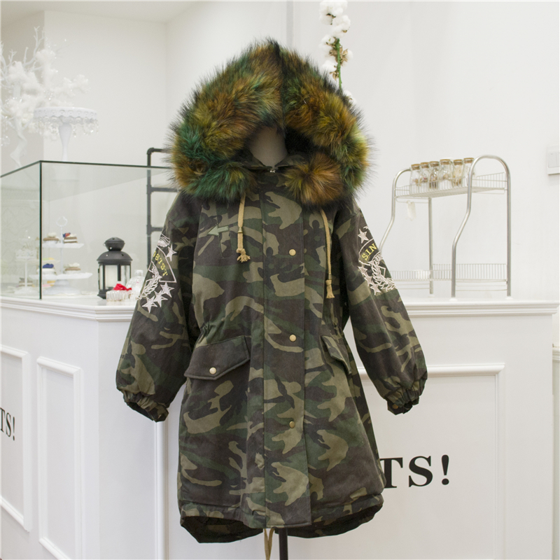 Medium-long Female Wadded Jacket Autumn Winter Camouflage Cotton Jackets Large Fur Collar Loose Women Cotton-padded Parkas linenall parkas original design 2016 brief loose plus cotton cotton padded jacket cotton padded wadded jacket female zi