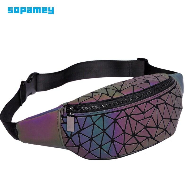 2018 New Fanny Pack Womens Handbags Laser Purse Luminous Geometry Chest Waist Bag Women Belt Bag Waist Bum Leg Bag Waist Pack