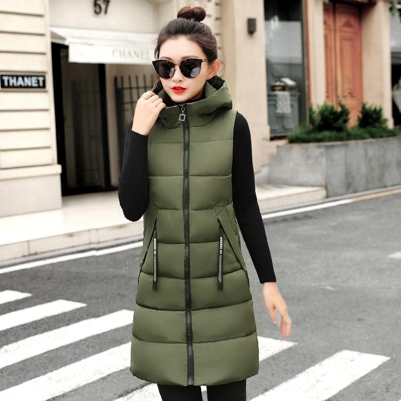 Autumn Winter Women Waistcoat Sleeveless Vest Jacket Hooded Warm Long 3