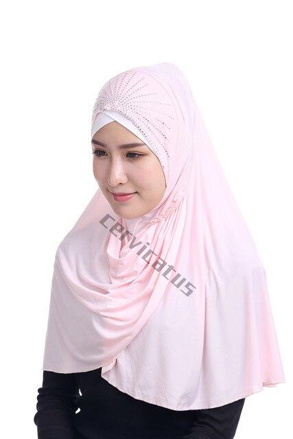 Mode Musulman Coloré Hijab Amira Foulard Islamique Hijab Cristal Une Pièce  Solide Couleur Underscarf Khimar Jilbab