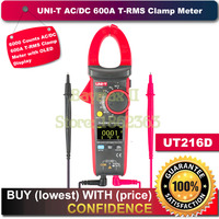 UNI T OLED Дисплей UT216D 6000 отсчетов 600A AC/DC T RMS цифровой клещи для ОМ измерение емкости с температурой НТС тестер