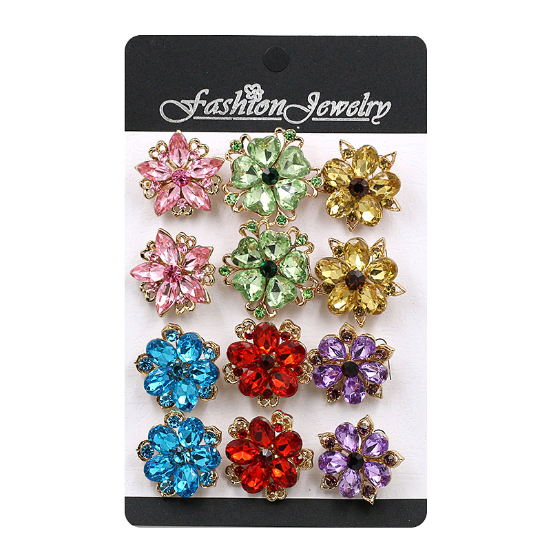 pack of 12 pieces Beautiful Acrylic Small Flower Brooches or Collar / Lapel Pins for Women in 3 Assorted Colors wonderfoam shapes assorted shapes colors 720 pieces pack