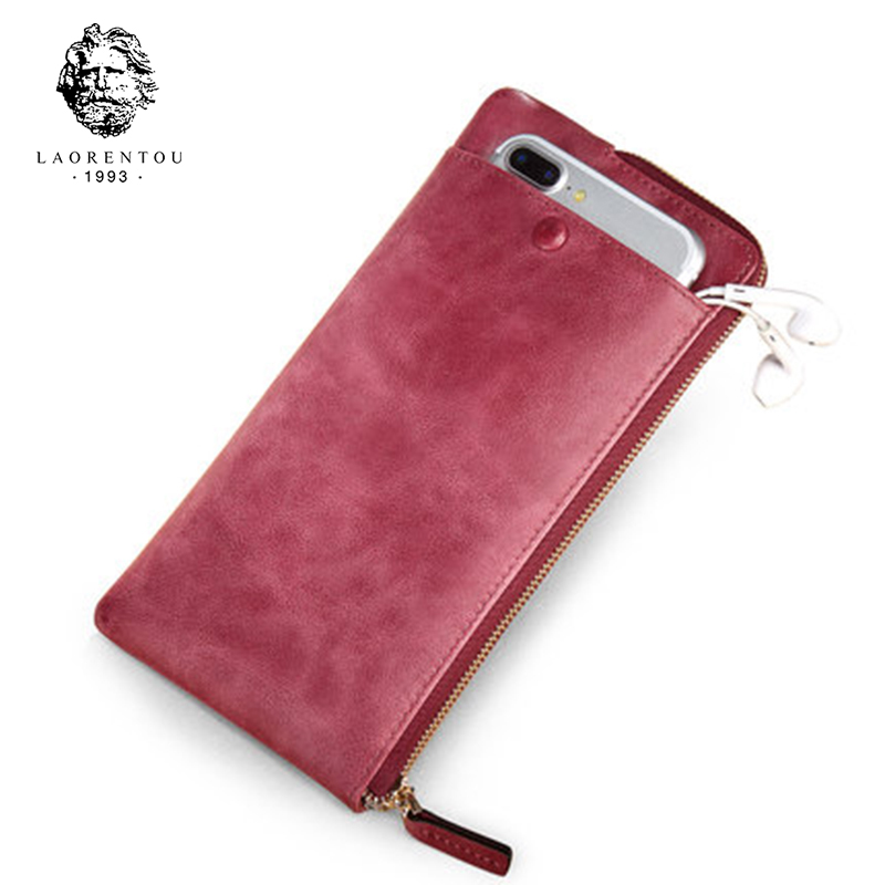 LAORENTOU Split Leather Lady Wallet Designer Brand Fashion Women Wallets Leather Women Purse With Phone Pocket Card Holder N6