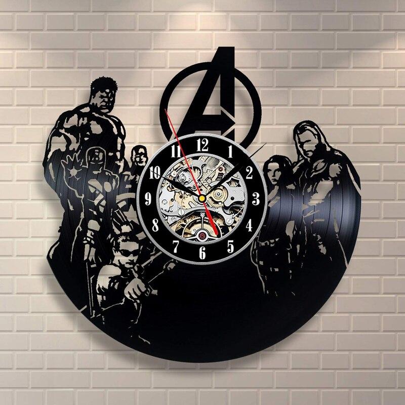 Wall Clocks Spiderman Vs Venom Wall Clock Modern Design Movie Theme 3d Stickers Vintage Vinyl Record Wall Clocks Hanging Watch Home Decor High Quality And Inexpensive Clocks