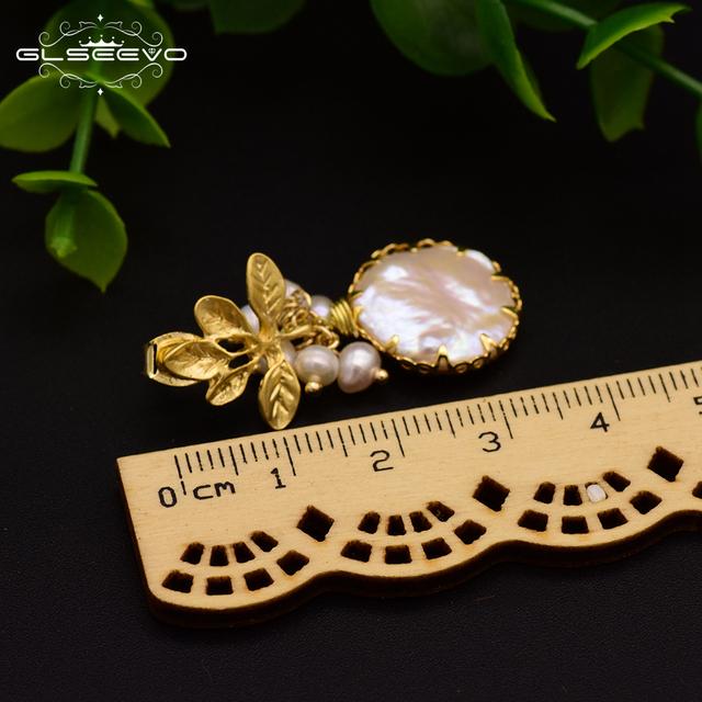GLSEEVO Natural Fresh Water Baroque Pearl Drop Earrings Women Plant Leaves Dangle Earrings Luxury Handmade Fine Jewelry GE0308