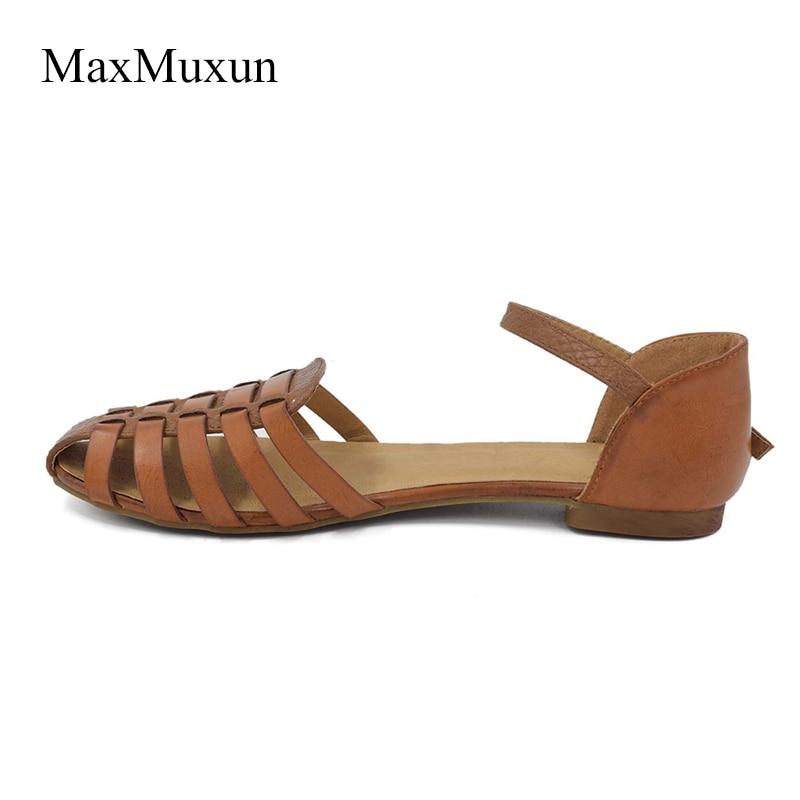 MaxMuxun Wanita Slingback Sandal Musim Panas Roma Ankle Strap Ditutup - Sepatu Wanita - Foto 4
