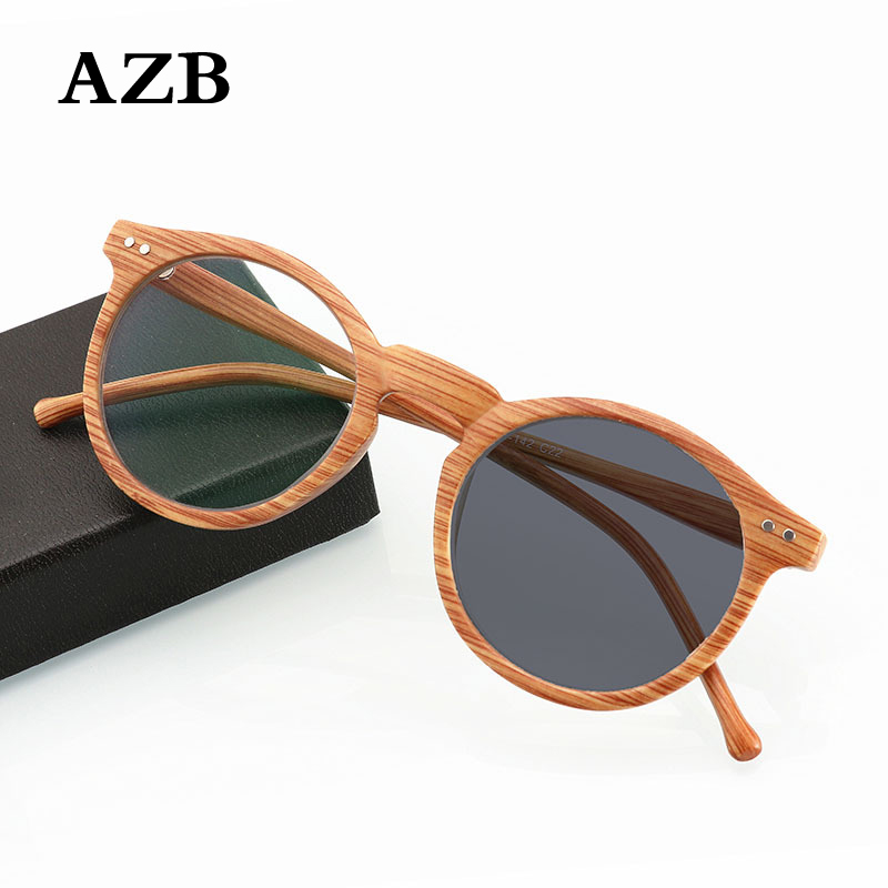AZB +100 to +400 Wood Grain Reading Glasses Retro Round UV Protection Photochromic Lens Presbyopia Eyewear for Readers Diopter