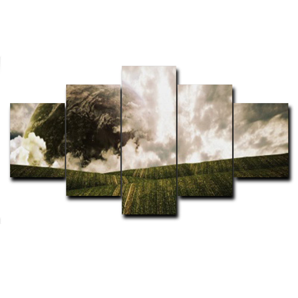 Laeacco Canvas Calligraphy Painting Abstract 5 Panel Posters and Prints Wall Artwork Decor Home Living Room Decoration in Painting Calligraphy from Home Garden