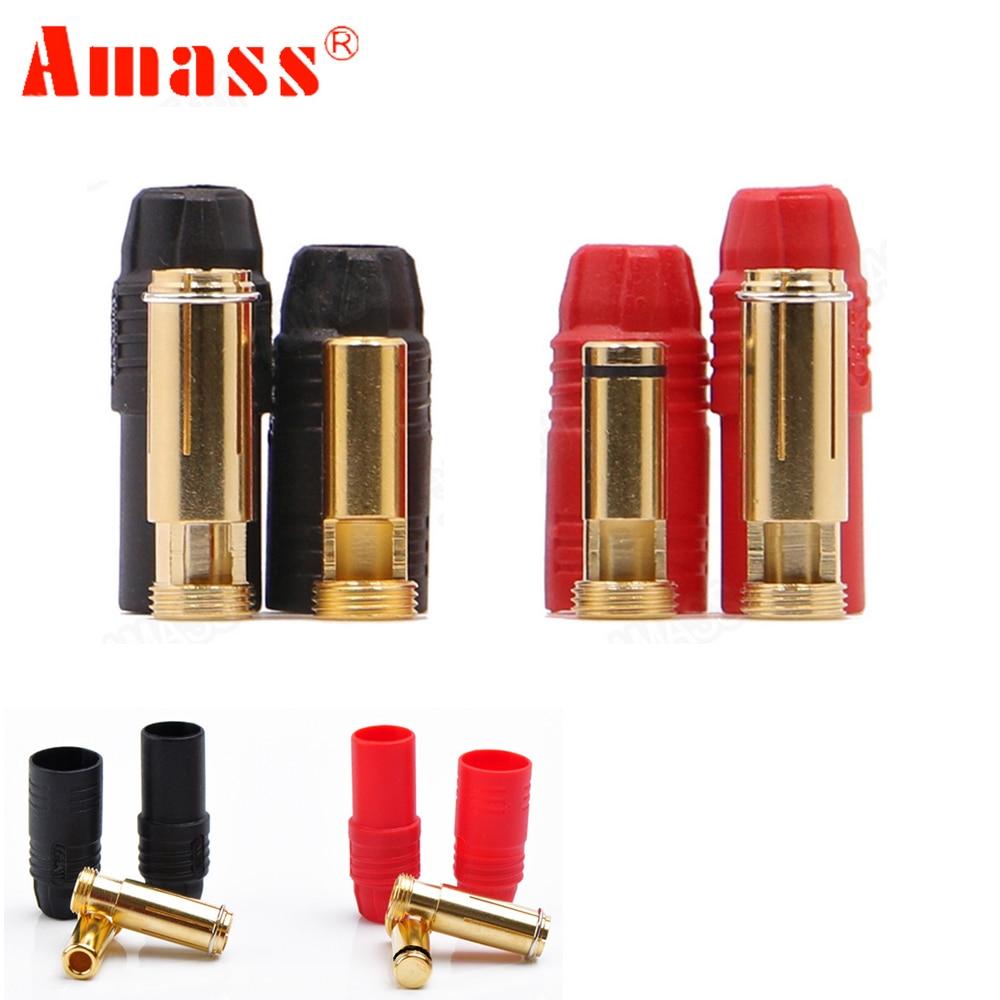Позолоченная штепсельная вилка типа «банан» Amass AS150, 7 мм, штекер/гнездо для аккумулятора высокого напряжения, красный/черный, 1 комплект amass as150 battery plugplug battery   АлиЭкспресс