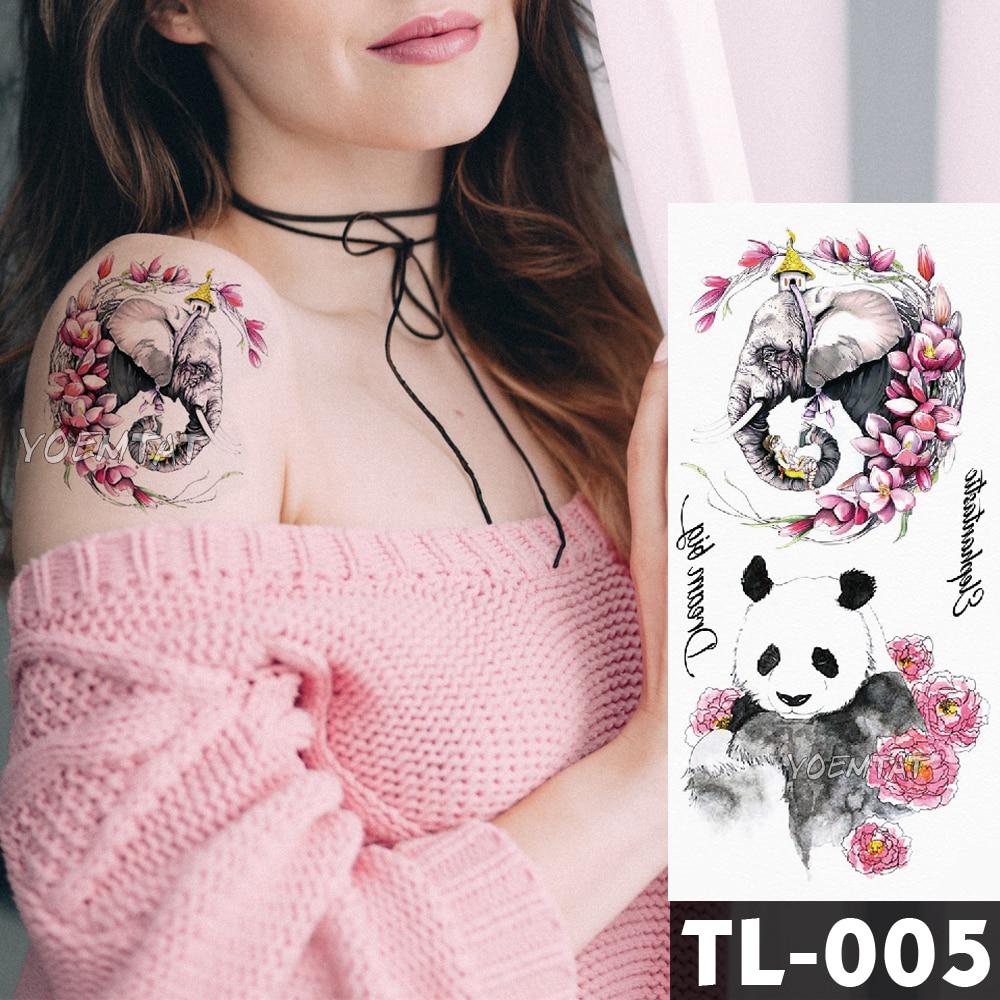 Pink Flower Panda Elephant Watercolor Fox Flower Tattoo Stickers Girls Waterproof Temporary Tattoo Women Body Arm Neck Back Art
