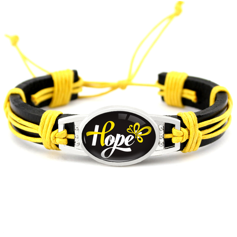 Image 4 - Medical Alert Alzheimers Meningitis Lupus Epilepsy Pancreatic Cancer Domestic Violence Rett Syndrome Hope Ribbon LeatherBracelet-in Charm Bracelets from Jewelry & Accessories