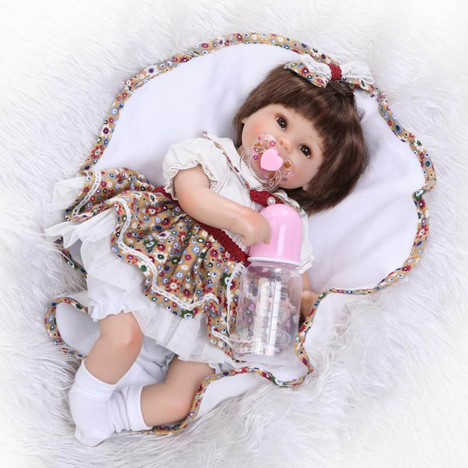 Hot Sale Realistic Baby Dolls Reborn Girl 16'' Lifelike Soft Silicone Babies Reborn Baby Doll Toys For Children Christmas Gift short curl hair lifelike reborn toddler dolls with 20inch baby doll clothes hot welcome lifelike baby dolls for children as gift