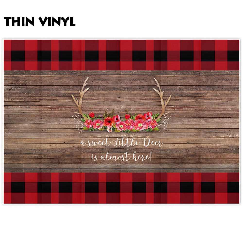 Allenjoy christmas buffalo plaid backdrop flower antler photography background baby shower custom party photocall shoot props.jpg q50