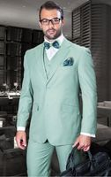 2018 Mint green tuxedos Summer jacket Smart casual business men suit prom dress wedding suit for men blazer jackets 3 pieces