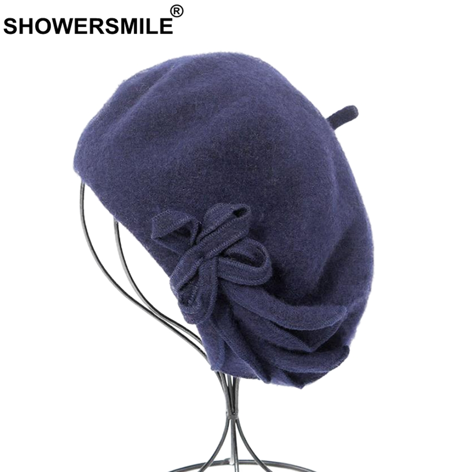 SHOWERSMILE Wool Berets Women Navy Blue Solid Artist Hat Female Bowknot Woolen Painters Caps Elegant Autumn Winter French Beret in Women 39 s Berets from Apparel Accessories