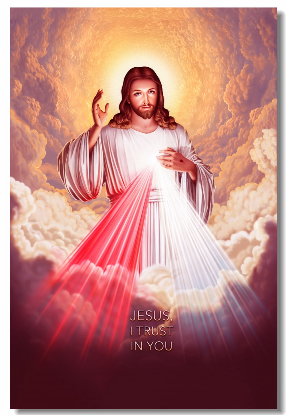 US $5 3 OFF Custom Canvas Wall Decor Jesus Christ Poster God Bless Second Ing Wall Sticker Divine Mercy Wallpaper Bedroom Painting 1024 Wall