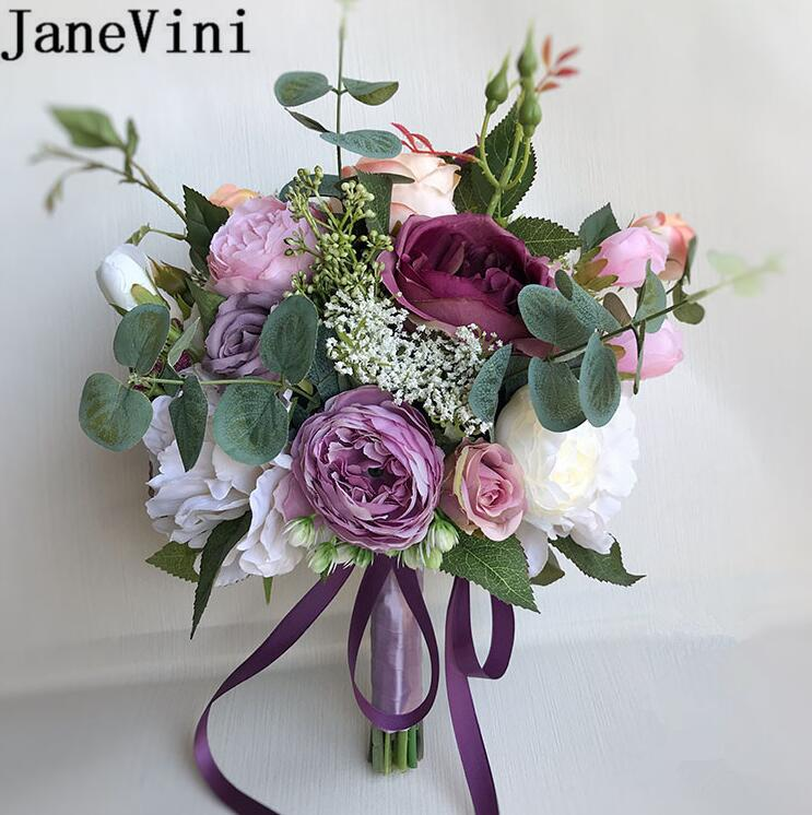 JaneVini Lilac Purple Peony Wedding Flowers Bridal Bouquet Vintage Artificial Silk Rose Bride Bouquet Holder Wedding Brooch 2019