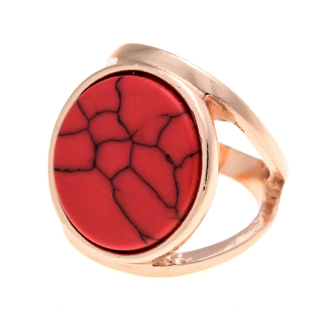 LUBINGSHINE Faux Marbled Stone Ring Woman Double Layer Gold Color anillos mujer Punk White Round Geometry Ring
