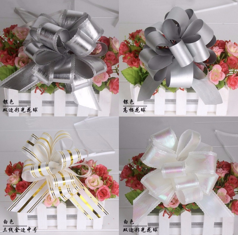 30 pcs beautiful whitesilver color 32mm large pull bow ribbon 30 pcs beautiful whitesilver color 32mm large pull bow ribbon flower for gift packing party wedding car room decoration in party diy decorations from home izmirmasajfo