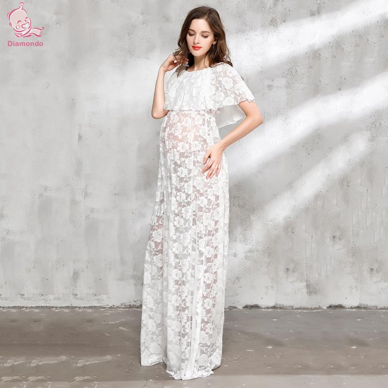 Maternity Photography Props Maternity Dress White Lace Sexy Maxi Dress Elegant Pregnancy ...