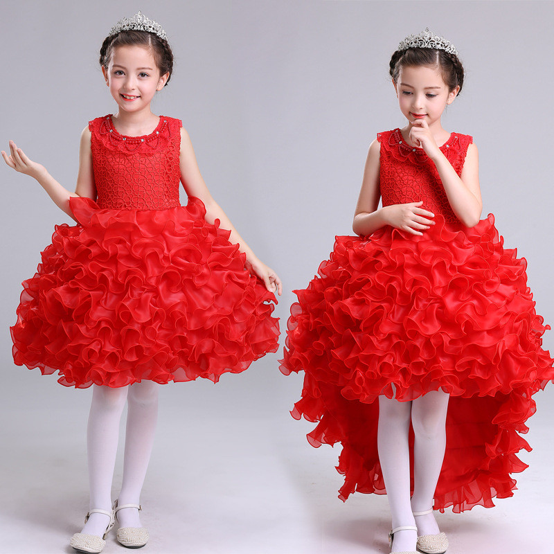 Princess Trailing Dress For Girl Fancy Costume Children Sleeveless Gown Clothing Kid's Festival Party Flower Ball Dress 11 Years fashionable sleeveless sequins embellish multilayered flower spliced mini ball gown dress for girl