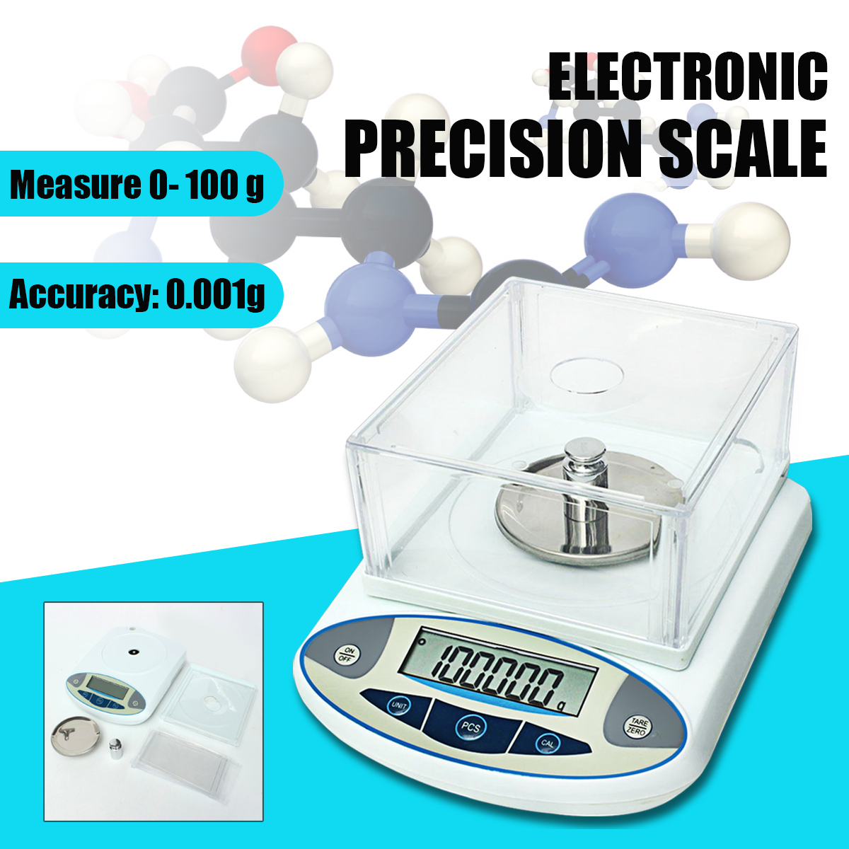 цена на 100x0.001g 1mg Digital LCD Lab Laboratory Analytical Balance Electronic Precision Jewelry Scale Mini Portable Weight Scale 100g