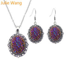 Julie Wang Oval Resin Faux Druzy Cabochon Ketting Oorbellen Stet Legering Antieke Zilveren Hangers Mode Vrouwen Choker Party Geschenken(China)