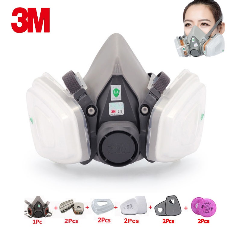 <font><b>3M</b></font> 6200 Gas Mask 11 in 1 Industrial Paint Respirator Anti-organic Gas with 6001CN <font><b>Cartridge</b></font> 2091CN Filter Cotton Dust Protective image