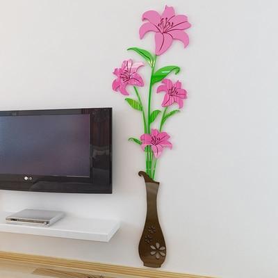 Le Vase Lis Romantique Chambre Acrylique 3d En Trois Dimensions