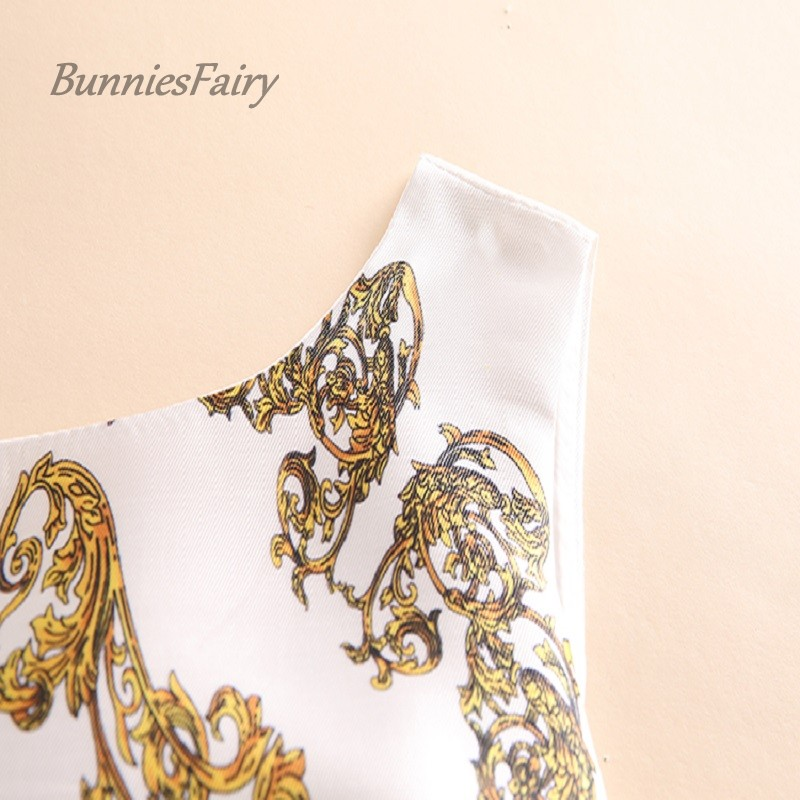 c56d4c8bbbebe US $19.75 48% OFF|BunniesFairy 2019 Spring New 1950s Women Vintage Dress  Luxury Golden Floral Print Female Runway Party Wear Rockabilly -in Dresses  ...
