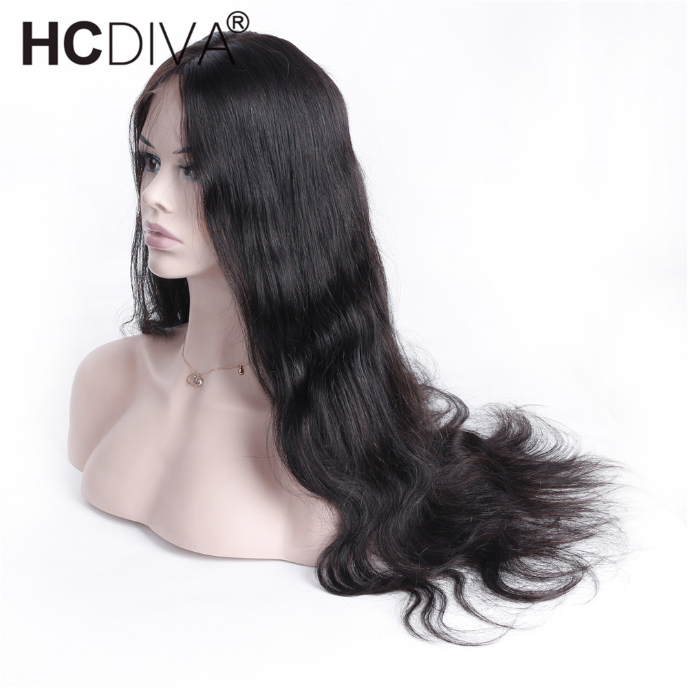 Body Wave Lace Frontal Wigs Peruvian Remy Hair Average Size Lace 13x4x2 Frontal Wigs For Women 130% Density Full End HCDIVA ...
