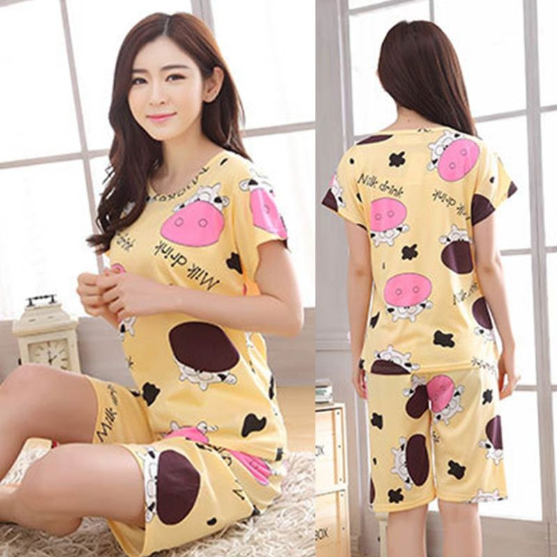 Womens Summer Milk Fiber   Pajamas     Set   Cute Cartoon Dairy Cattle Printed Short Sleeve Loose Tops Shorts Sleepwear Thin Loungewear