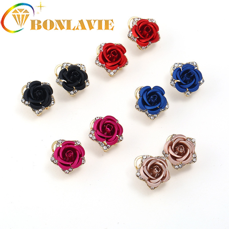 Popular Exquisite Jewelry Plant Flowers Crystal Earrings Elegant Concise Sweet Earrings For Women Jewelry Accessories
