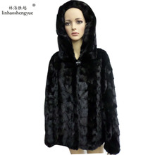 Linhaoshengyue Horizontal lines and vertical stripes minks head of long black fur coat with hat