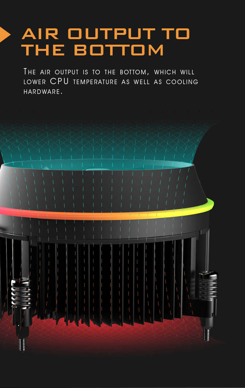 Darkflash Aigo ombra Heatpipes CPU del dispositivo di Raffreddamento del Dissipatore di Calore Del Radiatore AMD Intel Silenzioso 4Pin PC CPU Più Freddo Di Raffreddamento del Dissipatore di Calore Ventola LGA 115X
