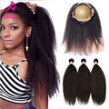 Rosa Queen Hair Products With Closure Kinky Straight Brazilian Virgin Hair With Closure 360 Lace Frontal Closure With Bundles