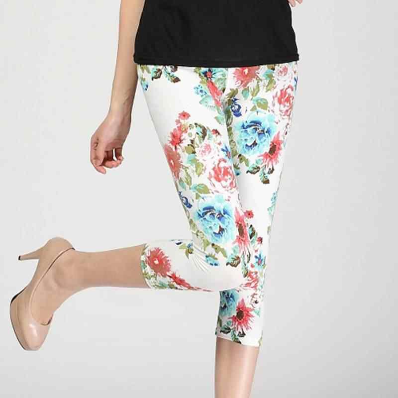 74c0be194c8ca6 lady short slim leggings floral daisy flower pencil capris fitted short legging  women summer knee length