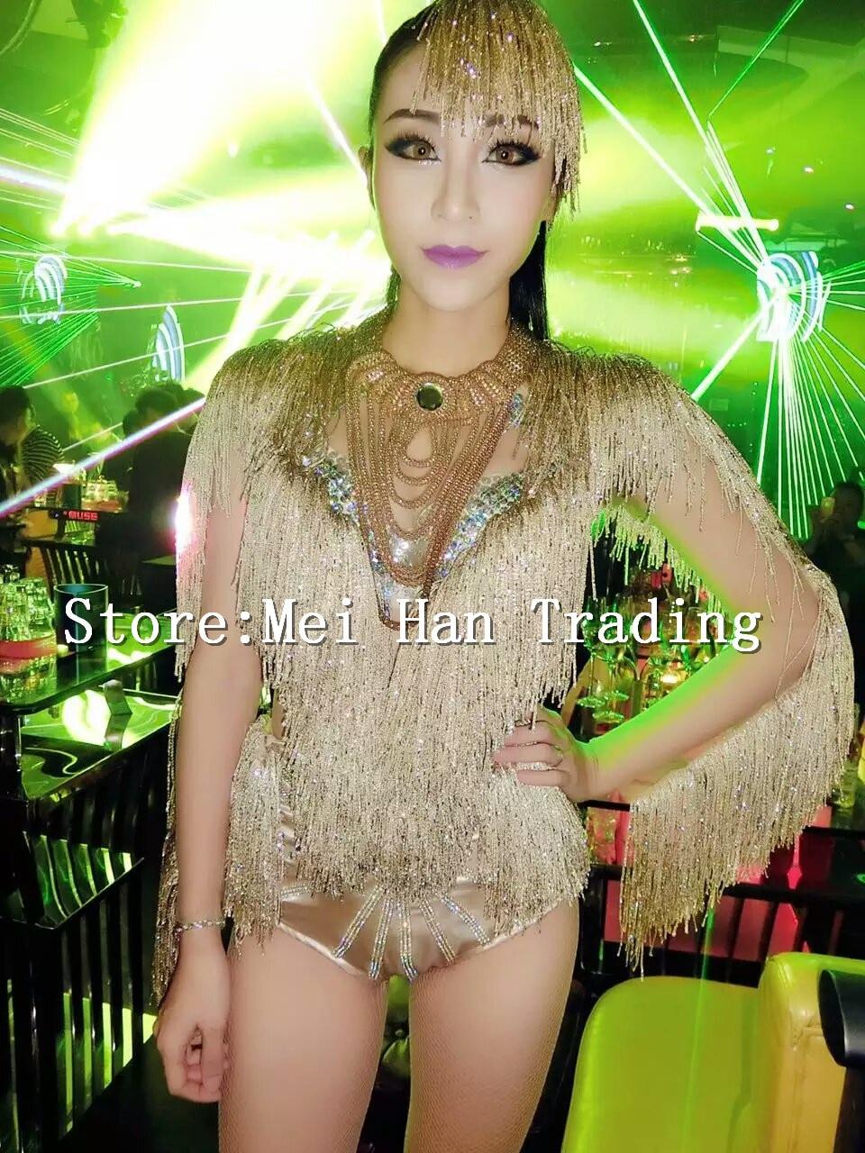 Partie Équipe Costume De Danseur Nuit Casque Chanteuse Performance Brillant Boîte Femmes La Bar Outfit Gland Body Spectacle XqP1wxEzOg