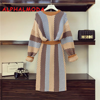 ALPHALMODA Autumn Winter Color Striped Knit Skirt Suit Loose Pullover sweater Back Slit Skirts Women 2pcs Casual Sets