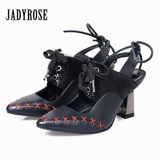 c298deccb2b96 US $89.76 32% OFF|Jady Rose Black Women High Heels Vintage Pointed Toe  Women Pumps Lace Up Female Summer Gladiator Sandals Stiletto Valentine  Shoe-in ...