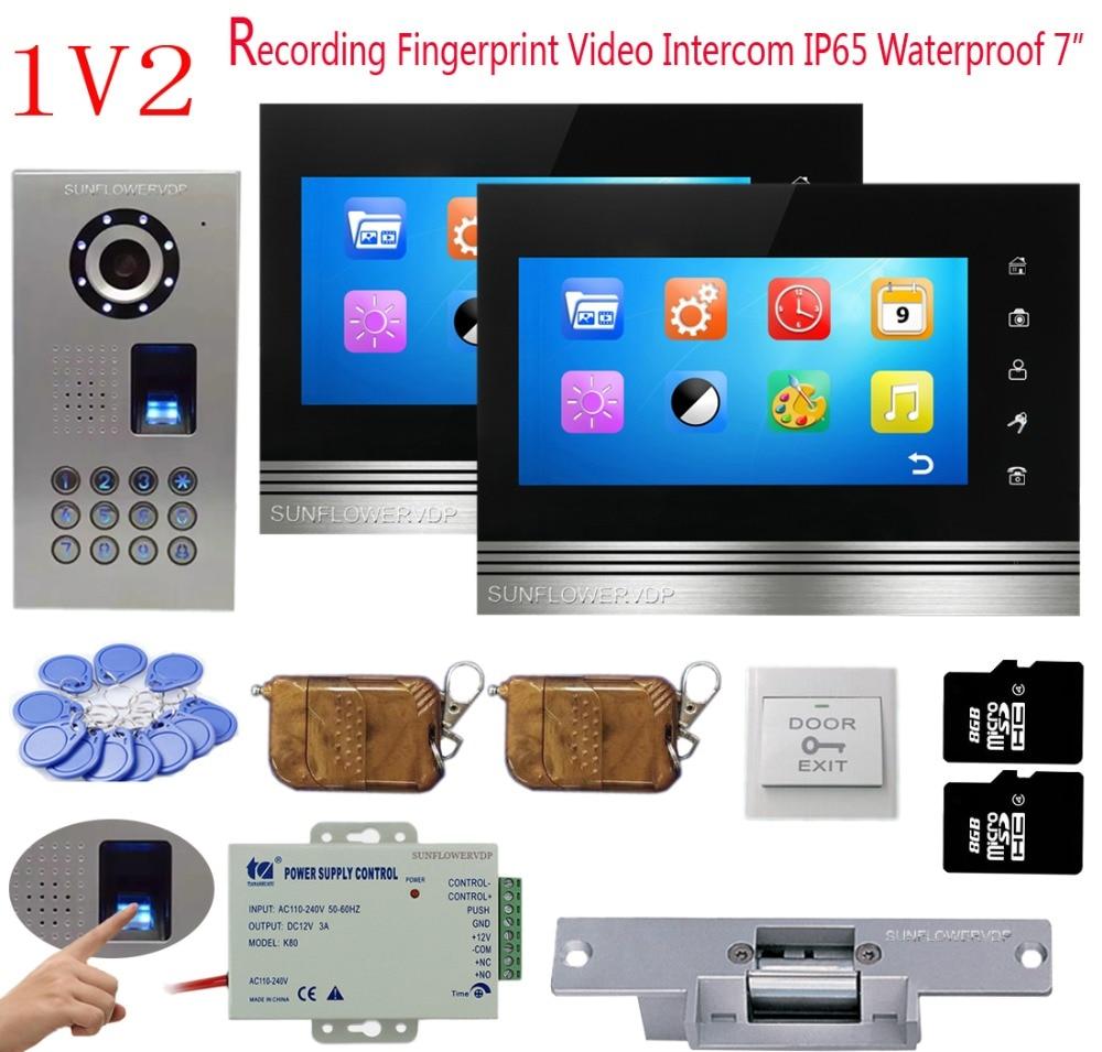 Fingerprint Video Intercom For A Private House 2 Monitors 8GB TF Card Recording Doorphone Intercom IP65 Waterproof Code + Lock