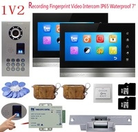 Fingerprint Video Intercom For A Private House 2 Monitors 8GB TF Card Recording Doorphone Intercom IP65 Waterproof Code + Lock