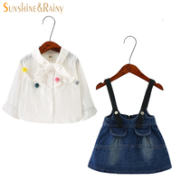 Children Clothing Girls Denim Sets Spring Winter Cute Kids Floral Shirt Dresses 2pcs Suit Girl Clothing