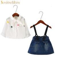 Kinderkleding Meisjes Denim Sets Lente Winter Leuke Kids Bloemen Shirt + Jurken 2 stks Pak Meisje Kleding Sets Peuter meisje Outfit