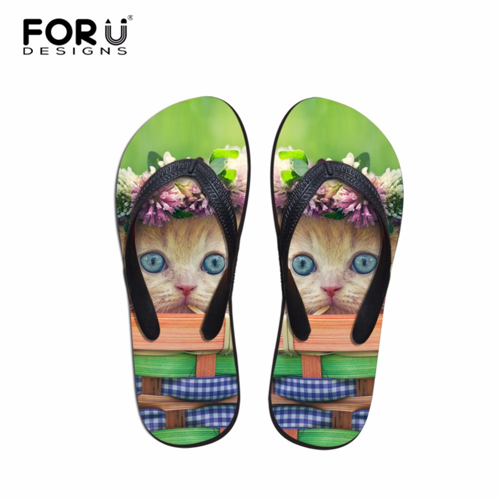 FORUDESIGNS Summer Women Flip Flops Casual Shoes Fashion Soft Leisure Sandals Beach Cute Cat Slipper Indoor Outside Des sandales