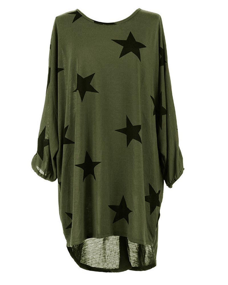 Hitmebox New Fashion Womens Star Prints 3/4 Sleeve Crew Neck Casual Loose Long Tunic Tops Ladies Baggy beach Style Blouse Shirts